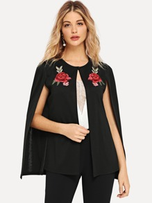 Symmetric Floral Embroidered Applique Coat