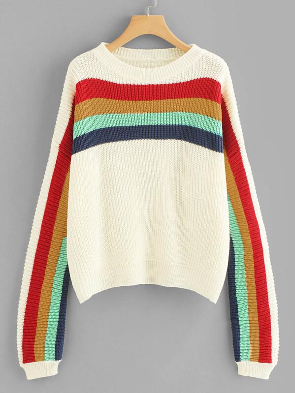 5a423bb4dc40b Rainbow Striped Sweater