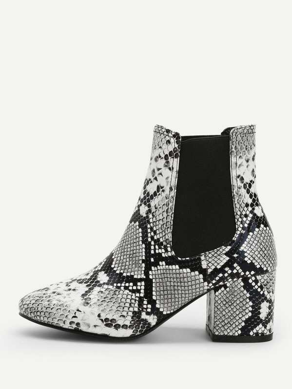 41117ee82f Snakeskin Pattern Ankle Boots | SHEIN