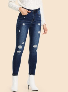 Skinny Ripped Detail Jeans