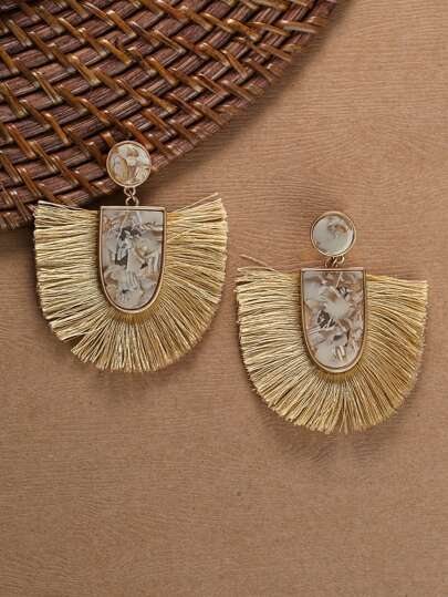 Stone Detail With Fringe Accent Drop Earrings