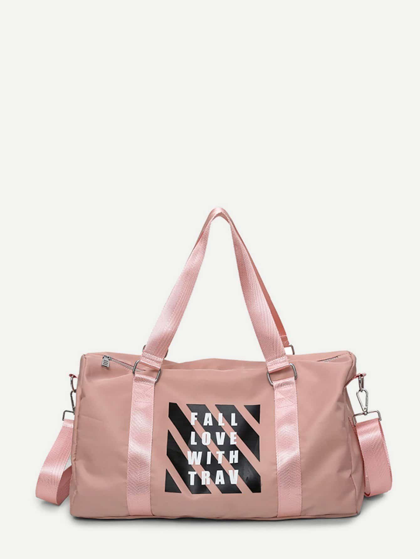 Slogan Print Nylon Duffle Bag