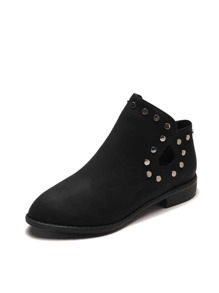 Studded Decor Side Zip Boots