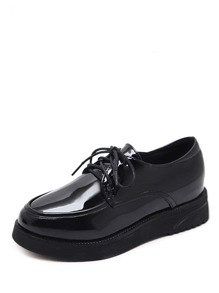Lace Up Patent Flatform Oxfords