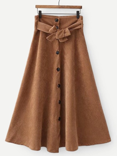 Self Tie Button Through Corduroy Utility Skirt