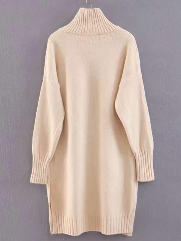 88c4a7b410b Drop Shoulder Slit Hem Sweater Dress