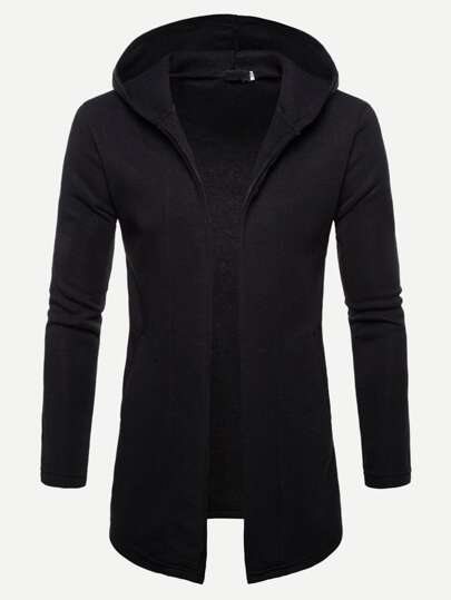 Men Solid Hooded Coat