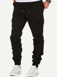 Men Pocket Side Solid Pants