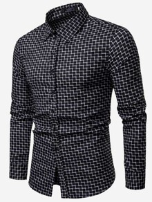 Men Gingham Print Shirt