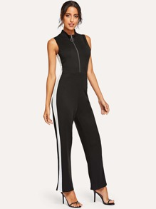 Zip Front Stand Collar Jumpsuits