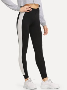 Elastic Waist Colorblock Leggings