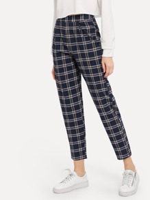 Plaid Zip Side Pants