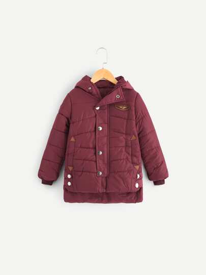 Boys Patched Padded Hooded Coat
