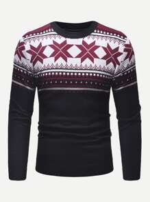 Men Christmas Print Sweater