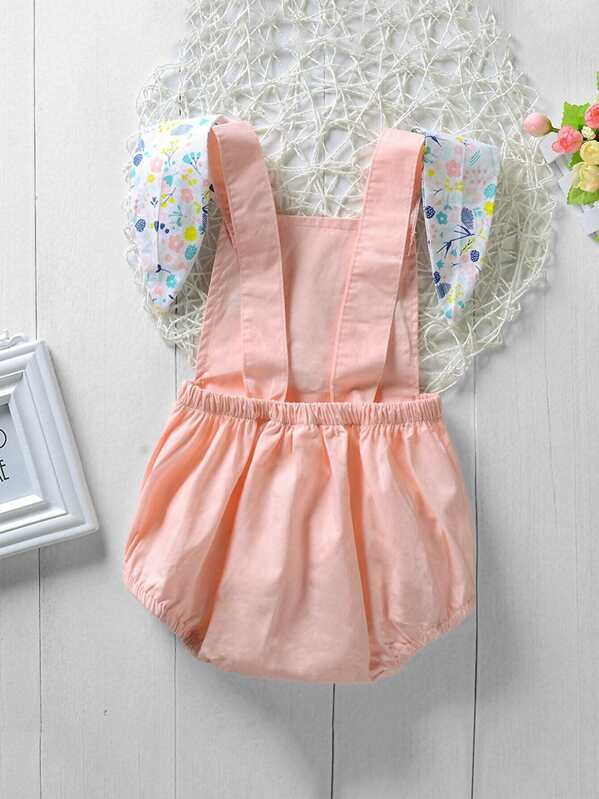 cc10b8b01 Toddler Girls Rabbit Ears Decoration Embroidered Jumpsuit
