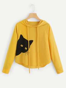 Cat Print Hooded Sweatshirt