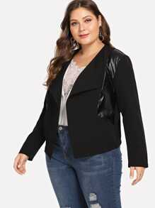 Plus Contrast PU Leather Blazer