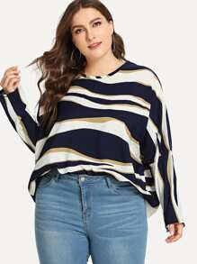 Plus Striped Batwing Sleeve Blouse
