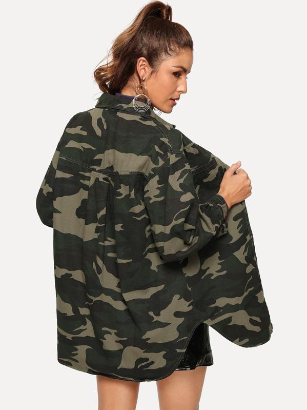 dd9de4f24b8a0 Camouflage Single-breasted Denim Utility Coat | SHEIN