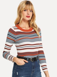 Knit Detail Striped  Sweater
