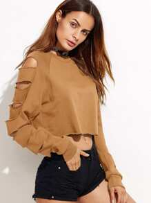 Ripped Decoration Solid Crop Sweatshirt