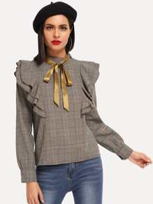 Plaid Knot Ribbon Ruffle Blouse