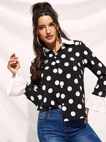 Polka Dot Flounce Sleeve Single Breasted Blouse