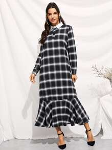 Plaid Ruffle Hem Contrast Collar Longline Dress