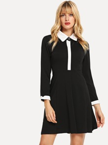 Contrast Neckline Dress