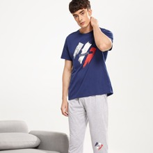 Men Letter Print Colorblock Pajama Set