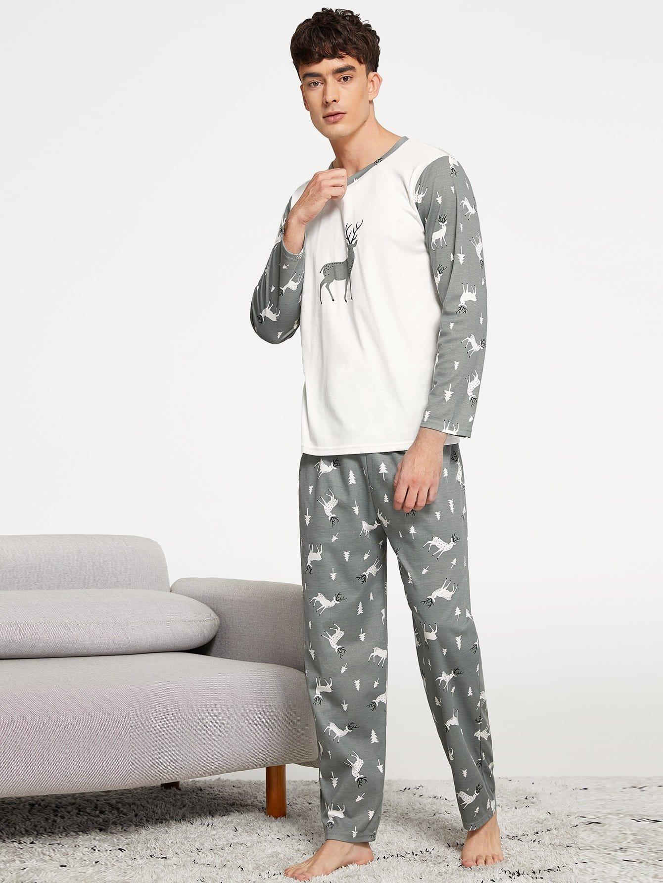 Men Deer Print Pajama Set Men Deer Print Pajama Set