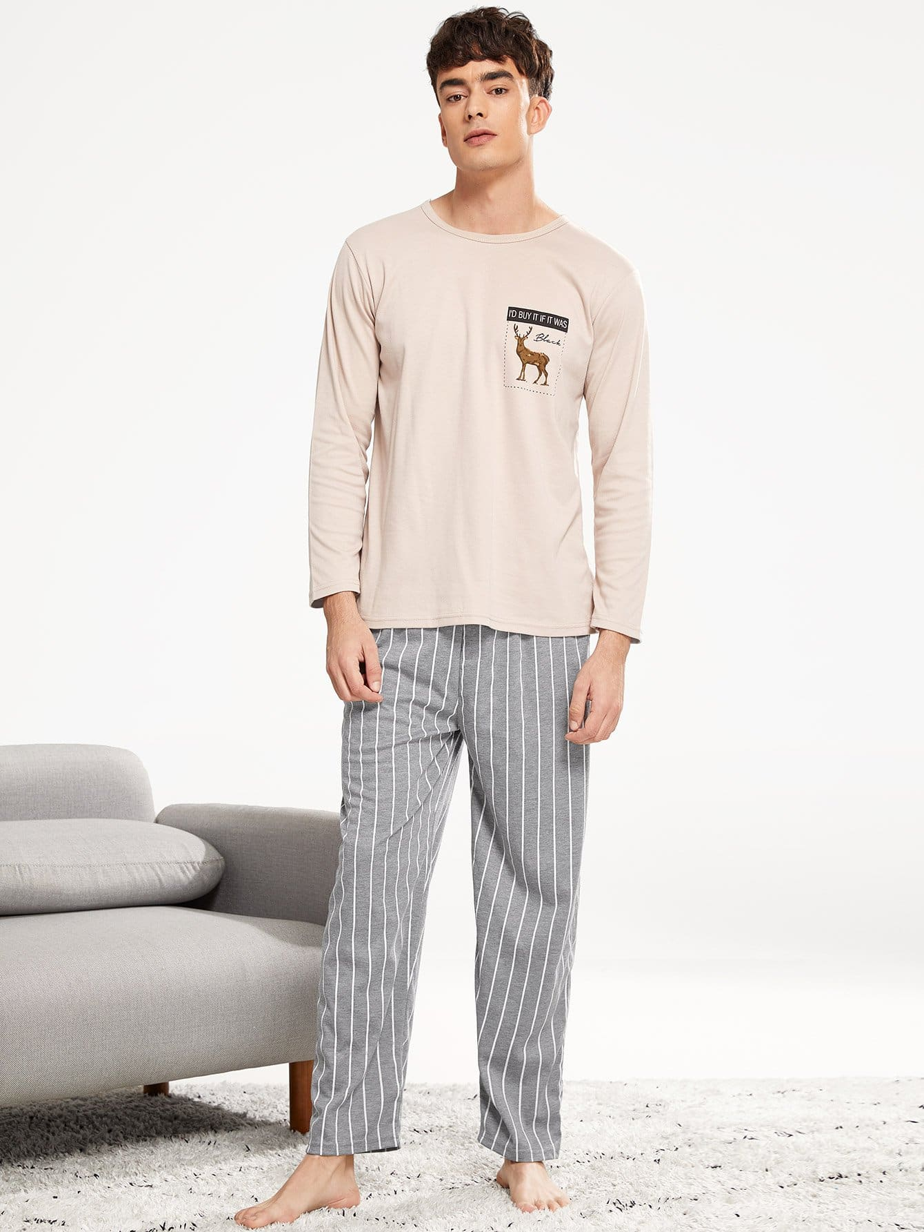 Men Deer Print Striped Pajama Set Men Deer Print Striped Pajama Set