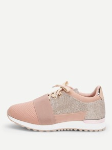 Glitter Design Lace-up Sneakers