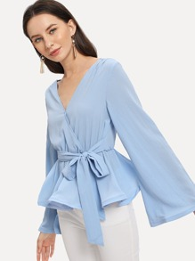 Surplice Wrap Neck Ruffle Hem Blouse
