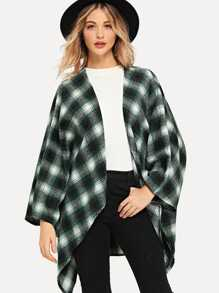 Open Front Plaid Poncho Coat