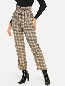 Bow Tie Waist Plaid Pants