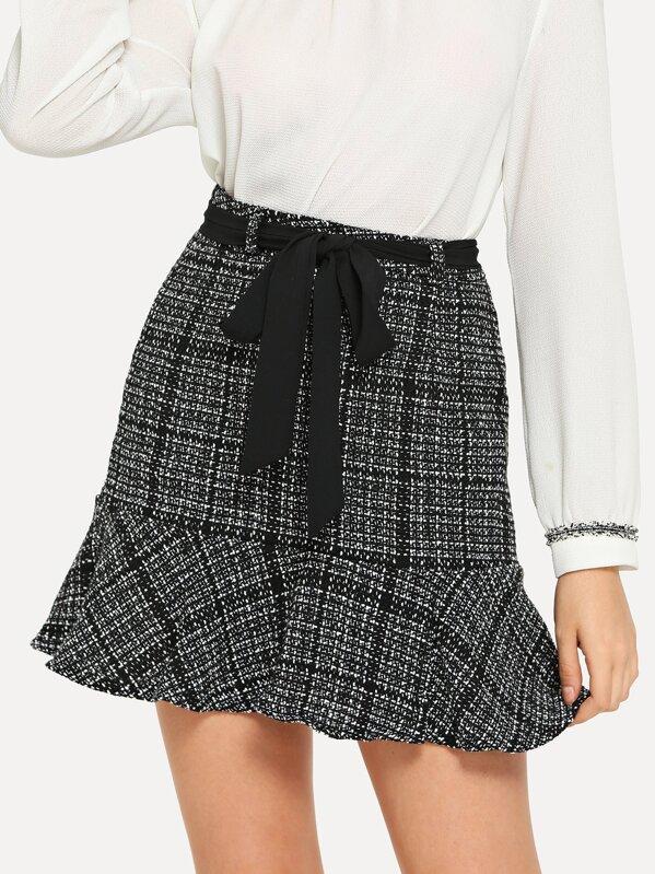1567122d8f Ruffle Hem Tweed Skirt | SHEIN UK