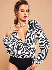 Surplice Neck Striped Bodysuit