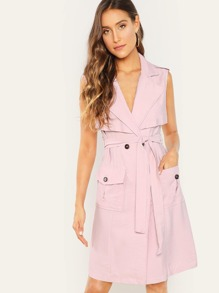 Waist Belted Notched Neck Pocket Dress