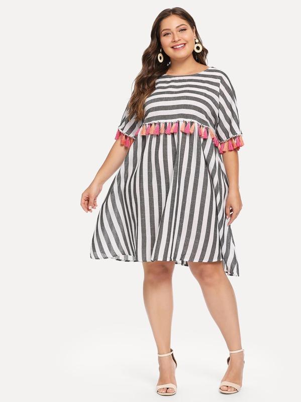 Plus Tassel Embellished Striped Flowy Dress   SHEIN