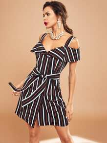 Fold Over Button Detail Striped Dress