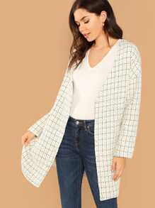 Pocket Side Plaid Tweed Longline Coat