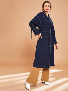 Notch Collar Contrast Stitch Self Belted Trench Coat