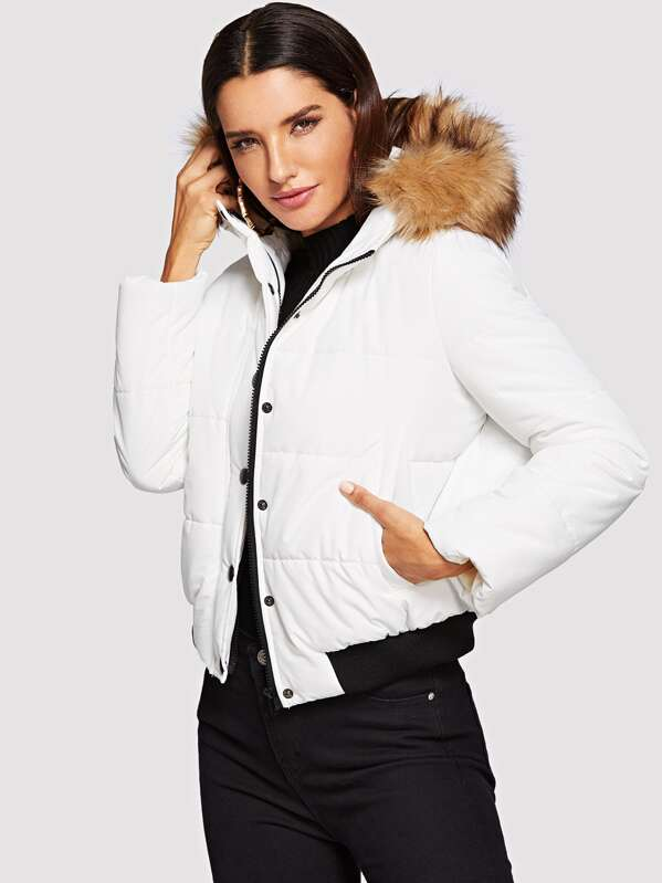 Puffer Coat With Faux Fur Trim Hood by Shein