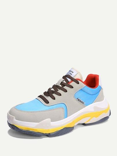 383281738 حذاء رجالي سنيكرز رياضي برباط | شي إن