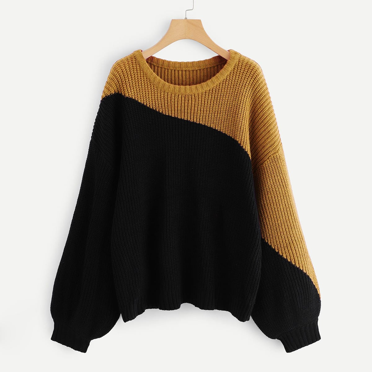Suéter de manga farol de dos colores-grande