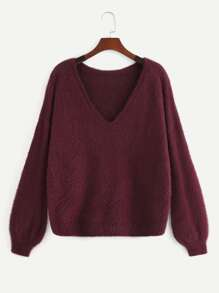 Plus Solid Drop Shoulder Fuzzy Sweater