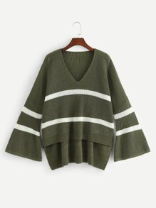 Trumpet Sleeve Color-Block Dip Hem Sweater