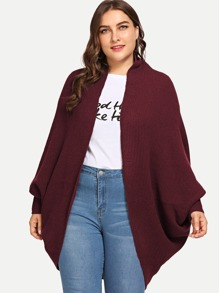 Plus Open Front Solid Cocoon Cardigan