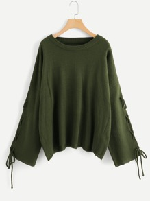 Plus Lace Up Sleeve Solid Sweater